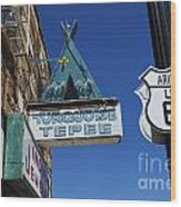 Route 66 Turquoise Tepee Wood Print