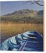 Row Boat Amongst Reeds On A Lake Wood Print