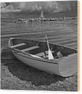 Row Boat On The Shore Of Lake Ontario In Toronto Wood Print