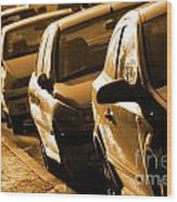Row Of Cars Wood Print