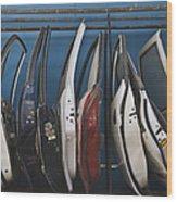 Row Of Dismantled Car Doors Wood Print by Noam Armonn
