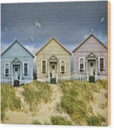 Row Of Pastel Colored Beach Cottages Wood Print