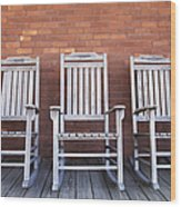 Row Of Rocking Chairs Wood Print