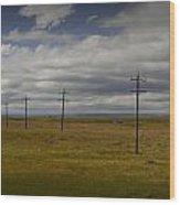 Row Of Utility Poles On The Prairie Wood Print