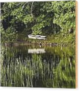 Rowboat Moored On The Bank Of A Lake Wood Print