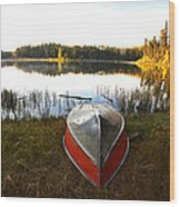Rowboats At Jade Lake In Northern Saskatchewan Wood Print