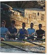 Rowers At Sunset Wood Print