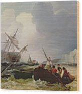 Rowing Boat Going To The Aid Of A Man-o'-war In A Storm Wood Print
