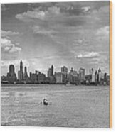 Rowing To Manhattan Wood Print