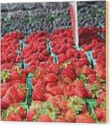 Rows Of Berries At Market Wood Print