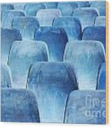 Rows Of Blue Chairs Wood Print by Carlos Caetano