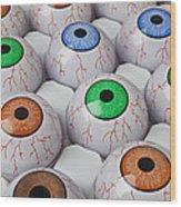 Rows Of Eyeballs Wood Print