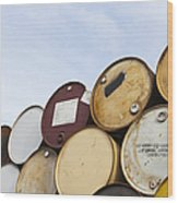 Rows Of Stacked Barrels Wood Print by Paul Edmondson