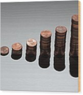 Rows Of Stacks Of Five Cent Euro Coins Increasing In Size Wood Print by Larry Washburn