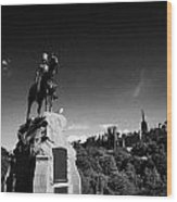 Royal Scots Greys Boer War Monument In Princes Street Gardens Edinburgh Scotland Uk United Kingdom Wood Print