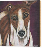 Royalty - Greyhound Painting Wood Print by Michelle Wrighton