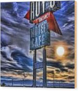 Roy's Motel Cafe Wood Print