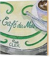Rue Cler Cafe Wood Print