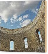 Ruin Wall With Windows Of An Old Church  Wood Print by Sandra Cunningham