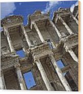 Ruins Of The Great Library At Ephesus Wood Print