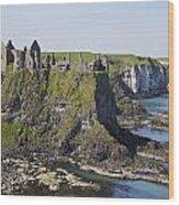 Ruins On Coastal Cliff Wood Print