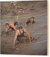 Runners Navigate An Obstacle Course Wood Print