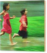 Running In The Rain Wood Print