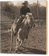 Running The Horse Wood Print
