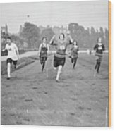 Running Track Race Wood Print by Topical Press Agency