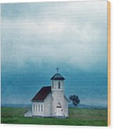 Rural Church With Stormy Sky Wood Print