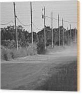 Rural Dirt Road In Black And White Wood Print