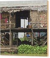 Rural Fishermen Houses In Cambodia Wood Print