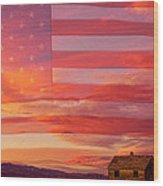 Rural Patriotic Little House On The Prairie Wood Print by James BO  Insogna