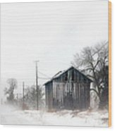 Rural Road By A Shack In Winter Wood Print