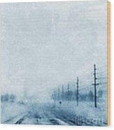 Rural Road In Winter Wood Print