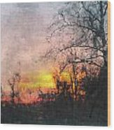 Rural Sunset  Art Wood Print