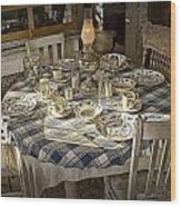 Rural Table Setting For Four No.3121 Wood Print