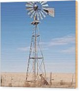 Rural Windmill Wood Print