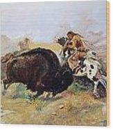 Russell: Buffalo Hunt Wood Print