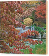 Rust Colored Leaves Over Autumn Pond Wood Print