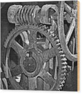 Rust Gears And Wheels Black And White Wood Print