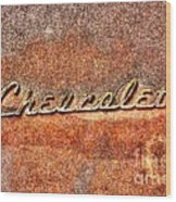 Rusted Antique Chevrolet Logo Wood Print