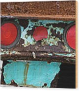 Rusted Blue Taillight Wood Print