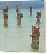 Rusted Iron Pier Dock Wood Print