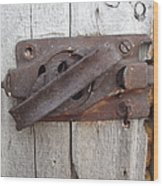 Rusted Latch Wood Print