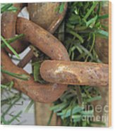 Rusted Links Wood Print