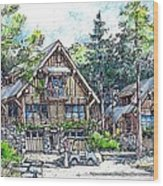 Rustic Cabins Wood Print