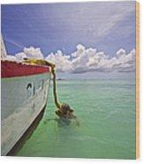 Rustic Fishing Boat Of Aruba Wood Print