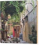 Rustic Greek Cafe Wood Print