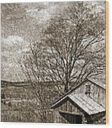 Rustic Hillside Barn Wood Print